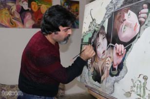 VİDEO HABER: Çizdiği resimlerle savaşın yaşattığı acıları dünyaya duyuruyor