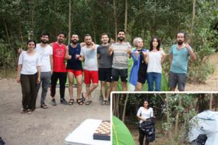 Çadır kuran kampçılar çevre temizliği yaptı