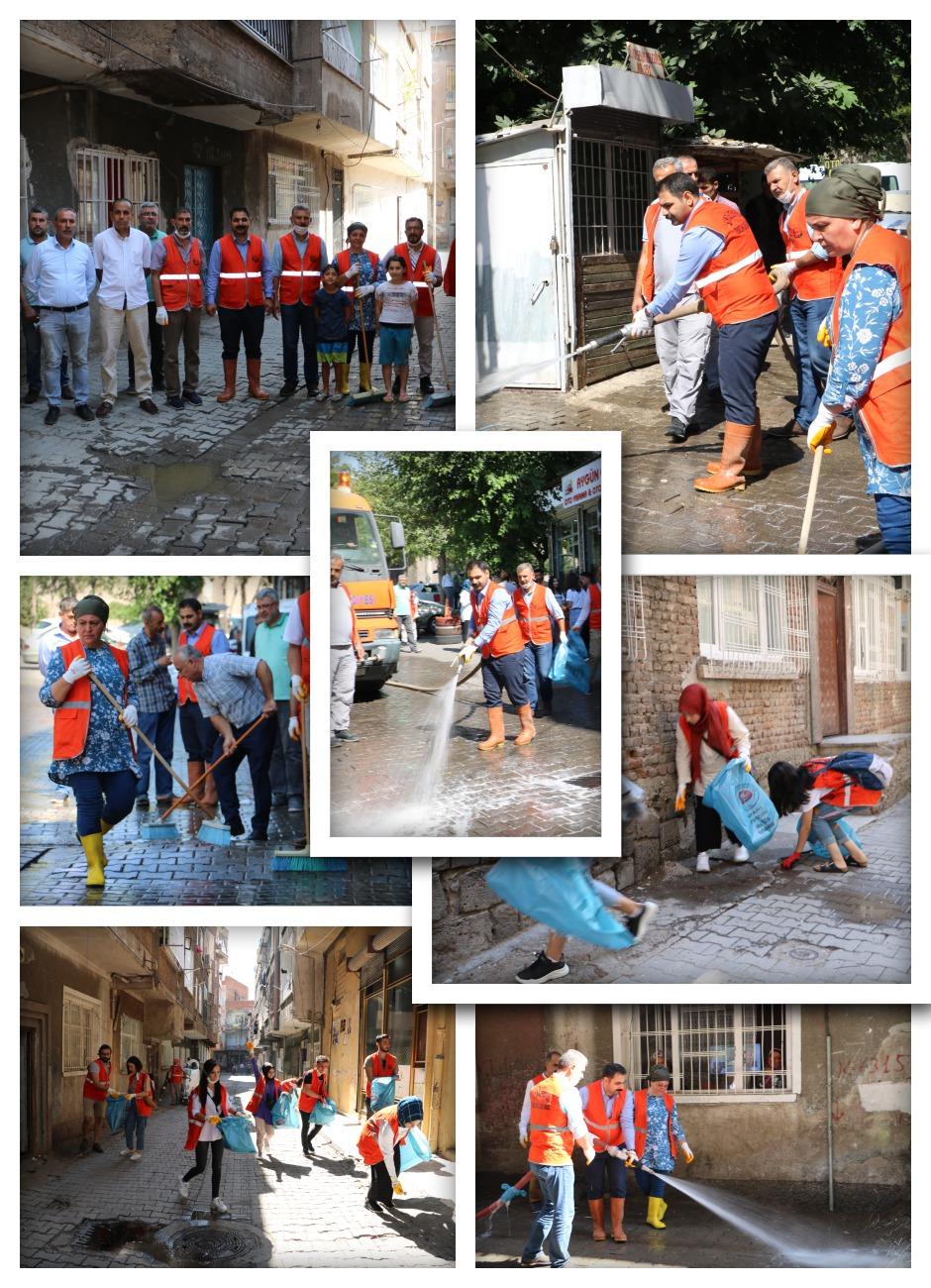 Sur sokakları deterjanlı su ile yıkandı