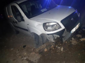 Köpeğe çarpan araç yoldan çıktı: 1 yaralı