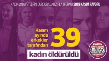 Kasım ayında en az 39 kadın katledildi