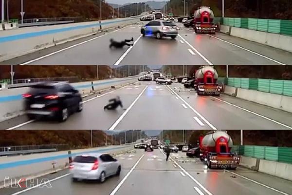 VİDEO HABER – Araçların altında kalmaktan defalarca kurtuldu