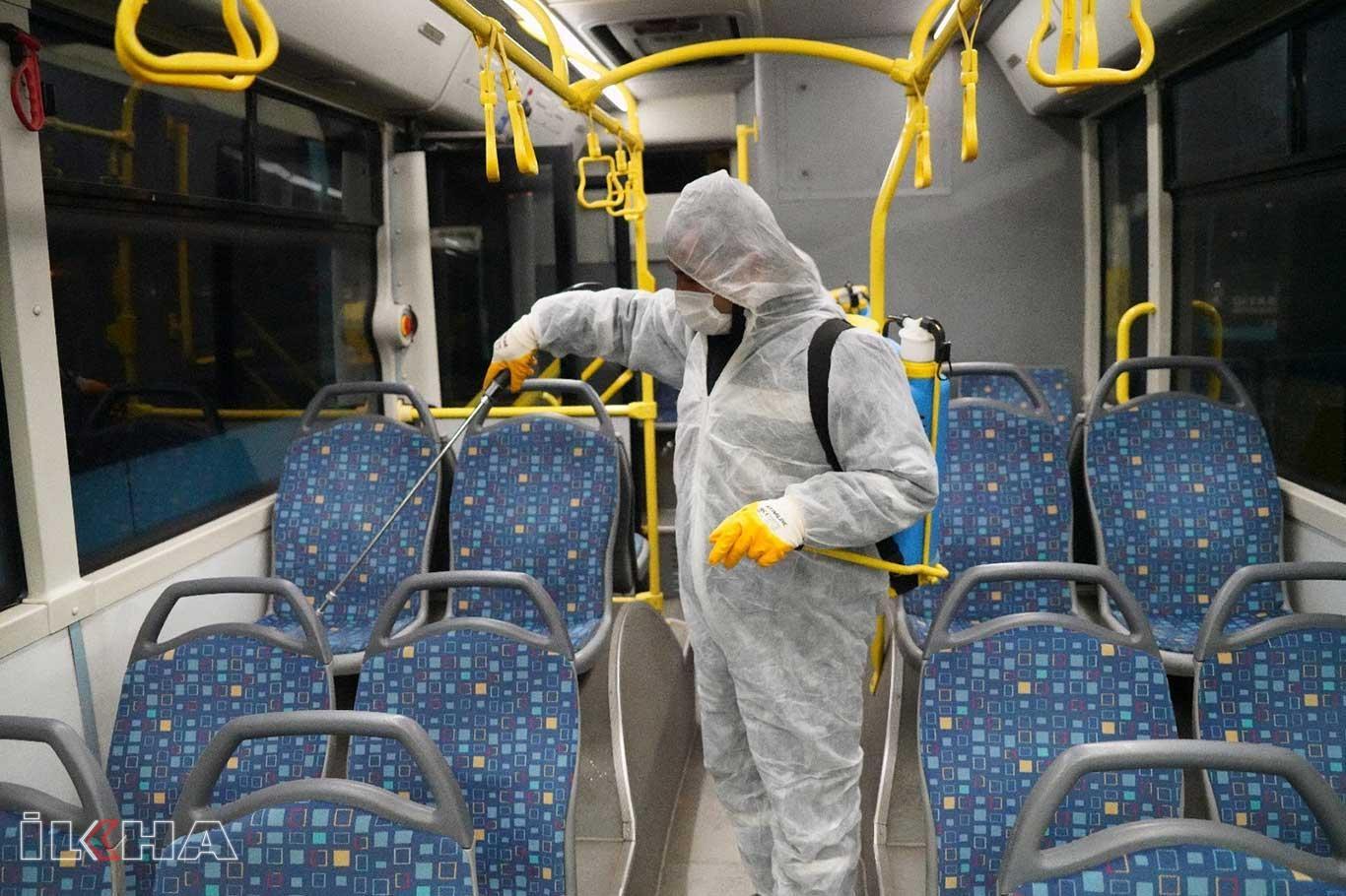 Toplu taşıma araçları dezenfekte ediliyor!