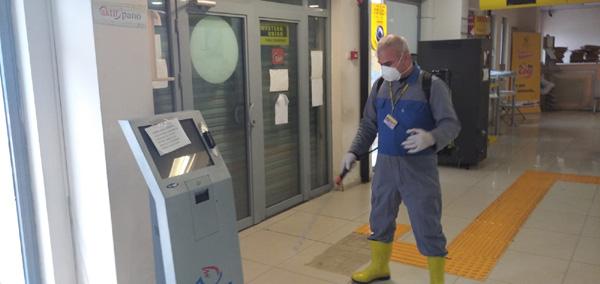 PTT'de dezenfekte çalışmaları devam ediyor