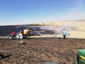75 dönümlük buğday tarlası kül oldu